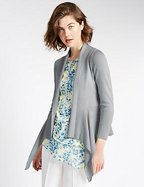 Open Front Woven Waterfall Cardigan