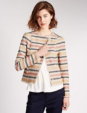 Cotton Rich Textured Striped Jacket