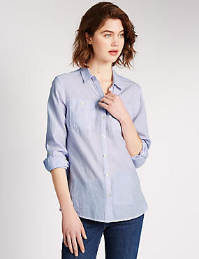 Linen Blend 3/4 Sleeve Striped Shirt