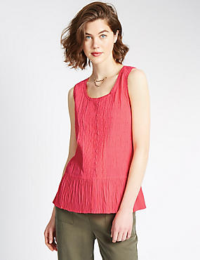 Pure Cotton Peplum Vest Top
