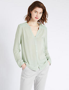 Loose Fit Embroidered Shoulder Crinkled Blouse