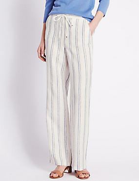 Roma Rise Pure Linen Striped Wide Leg Trousers