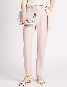 Roma Rise D Ring Belted Tapered Leg Trousers with Linen
