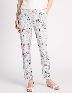 Roma Rise Floral Tapered Leg Trousers