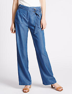Roma Rise Belted Wide Leg Denim Jeans