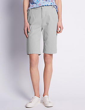 Roma Rise Cotton Rich Ticking Striped Shorts