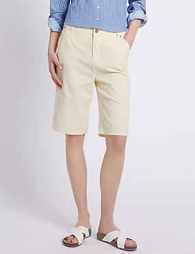 Roma Rise Cotton Rich Striped Shorts
