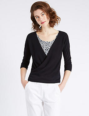Tailored Fit 3/4 Sleeve Mock Wrap Jumper
