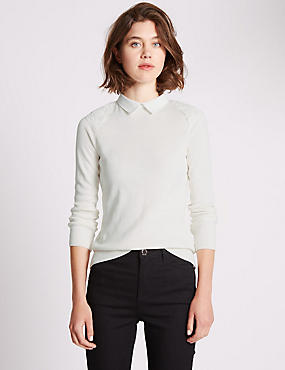 Tailored Fit Lace Detail Mock Shirt Jumper