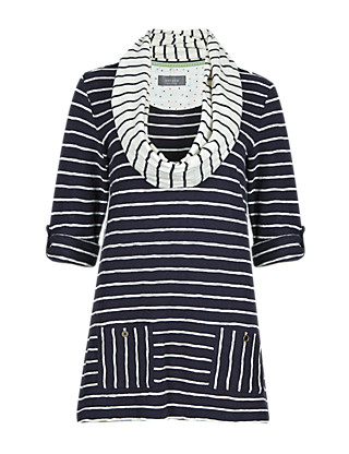 Pure Cotton Striped Tunic with Scarf Clothing
