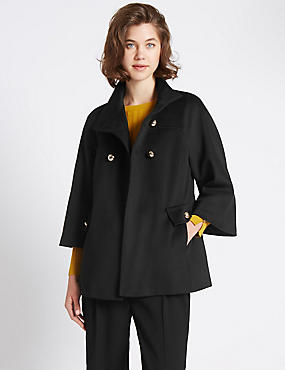 3/4 Sleeve Plain Swing Fit Coat