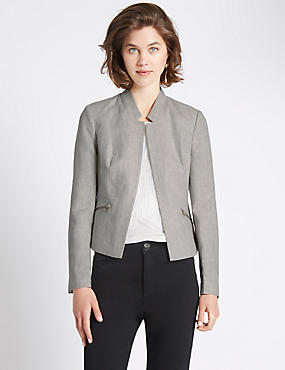 Long sleeve Zip Linen Jacket
