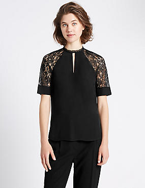 Loose Fit Lace Insert Short Sleeve Blouse