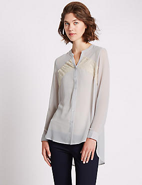 Loose Fit Oblong Hem Romantic Blouse