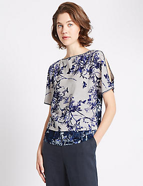 Loose Fit Woven Front Butterfly Printed Top