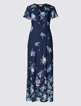 Floral Twisted Front Maxi Dress