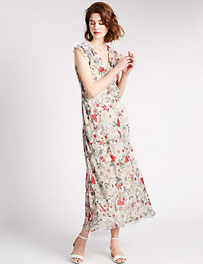 Loose Fit Waterfall Floral Maxi Dress