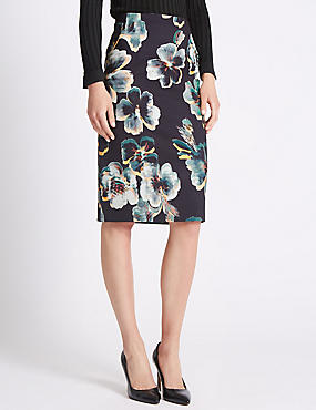 Tailored Fit Floral Pencil Skirt