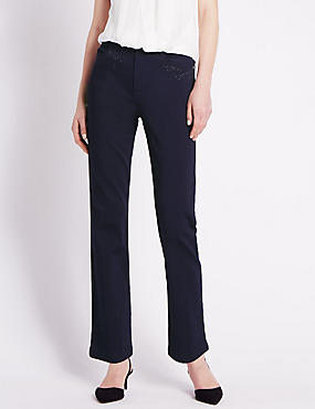 Embellished Roma Rise Straight Leg Jeans