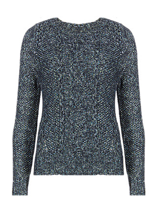 Moss Stitched Cable Knit Jumper with Mohair Clothing