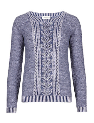 Pure Cotton Plaited Cable Knit Jumper Clothing