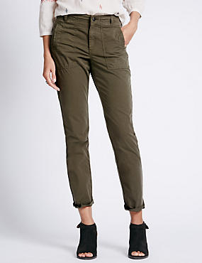 Pure Cotton Pocket Tapered Leg Cargo Trousers