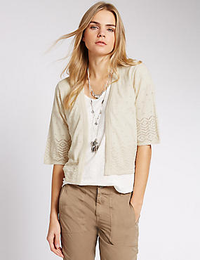 Pure Cotton Pointelle Cover Up Cardigan