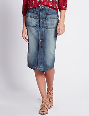 Longline Denim Pencil Skirt