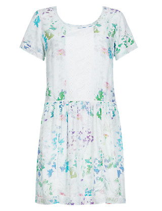 Blurred Floral Tunic Dress with Camisole Clothing