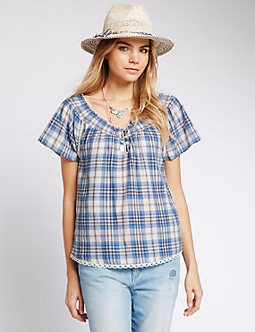 Pure Cotton Checked Bardot Blouse