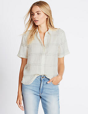 Metallic Effect Checked Shirt