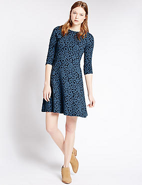 Cotton Rich Brocade Fit & Flare Dress