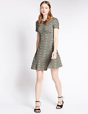 Cotton Rich Animal Print Fit & Flare Dress