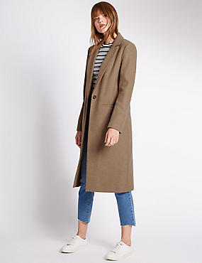 Tailored Fit Long Sleeve Coat with Wool