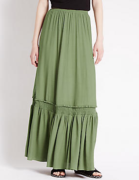 Gathered A-Line Maxi Skirt