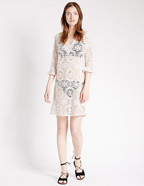 V-Neck Crochet Lace Shift Dress