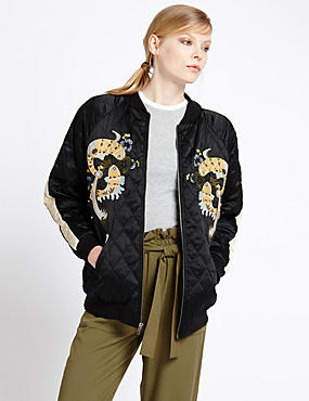 Quilted Oriental Bomber Jacket
