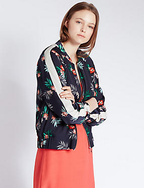 Loose Fit Tropical Floral Bomber Jacket