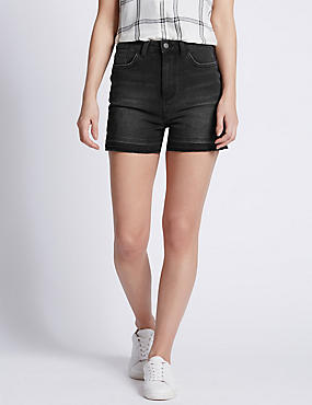 High Waisted Washed Look Shorts