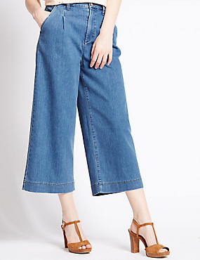 Cotton Rich Pleated Front Culottes
