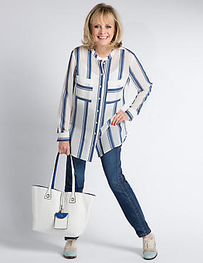 Twin Pockets Striped Blouse