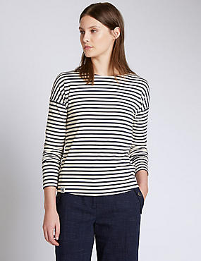 Cotton Rich Breton Striped Long Sleeve Top