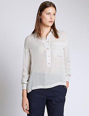 Pure Silk Striped Shirt