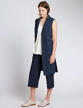 Cotton Rich Sleeveless Longline Jacket
