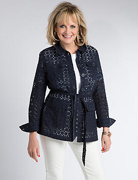 Pure Cotton Belted Broderie Jacket