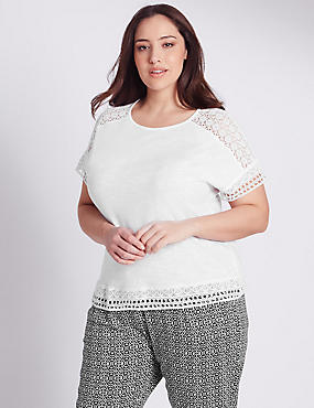 PLUS Lace Sleeve T-Shirt