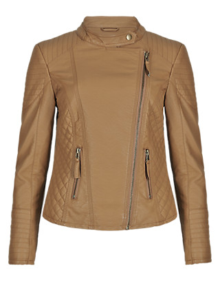 PETITE Zip Through Quilted Biker Jacket Clothing