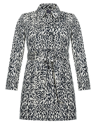 PLUS Animal Print Belted Mac Clothing
