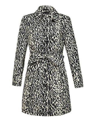 PETITE Animal Print Belted Mac with Stormwear™ Clothing