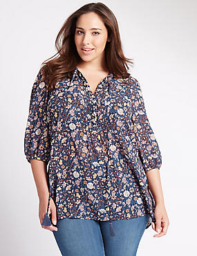 PLUS Floral Embellished Neckline Blouse